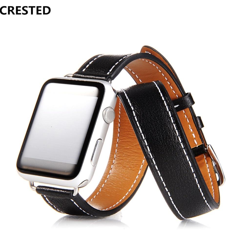 все цены на CRESTED Genuine leather strap For Apple Watch 4 band 44mm/40mm correa iwatch serise 3/2/1 42mm/38mm Double tour wrist bracelet онлайн