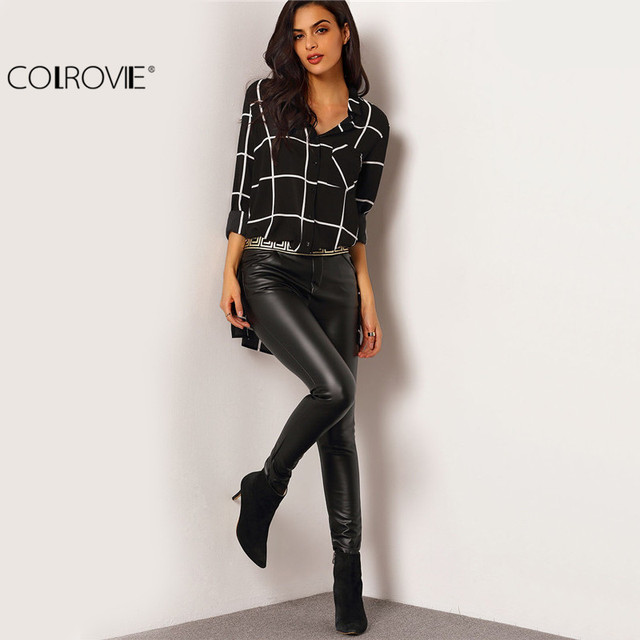 COLROVIE Tops For Womens Casual Shirts European Blouses Brands Black Lapel Long Sleeve Plaid Buttons Pockets Blouse