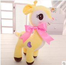 about 30cm cartoon sika deer plush toy lovely yellow deer soft doll baby toy birthday gift,Xmas gift c829
