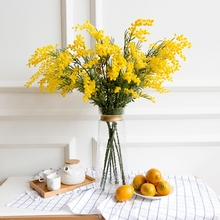 5 PCS Australia Acacia Yellow Mimosa Pudica Spray (Small Style)Artificial Flower Wedding Party Event  Decor Free Shipping