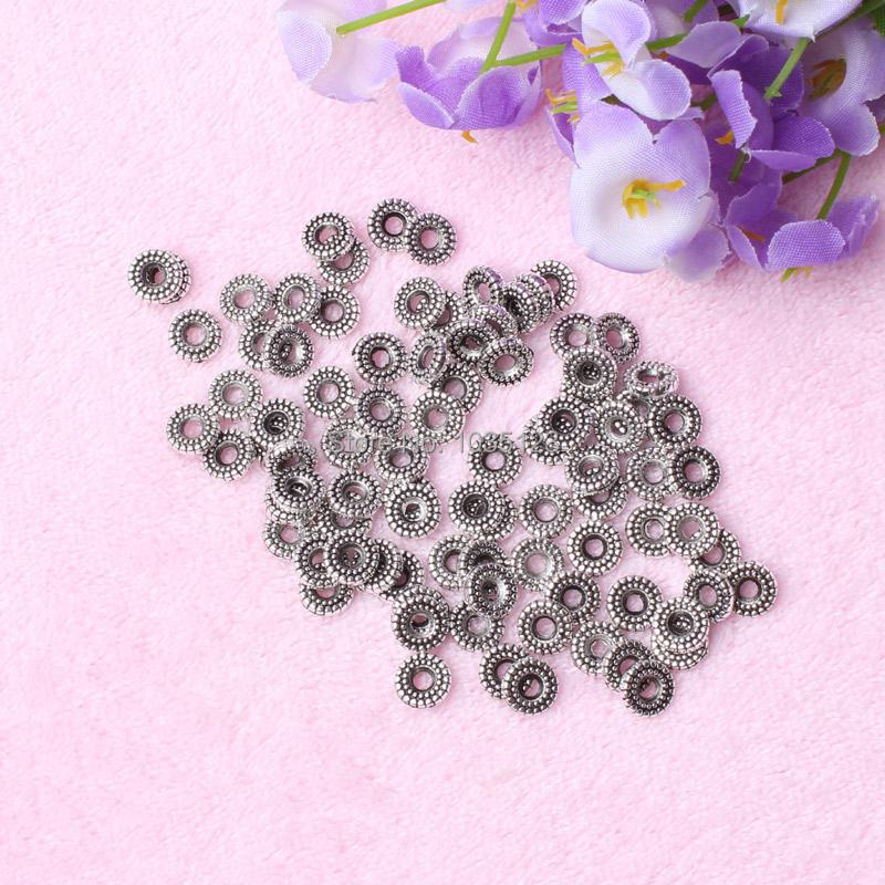 Free Shipping 80Pcs 8mm Coin Shape Retro silvering White Tibetan Jewelry Spacers Beads DIY Creative Jewellery Making w2389