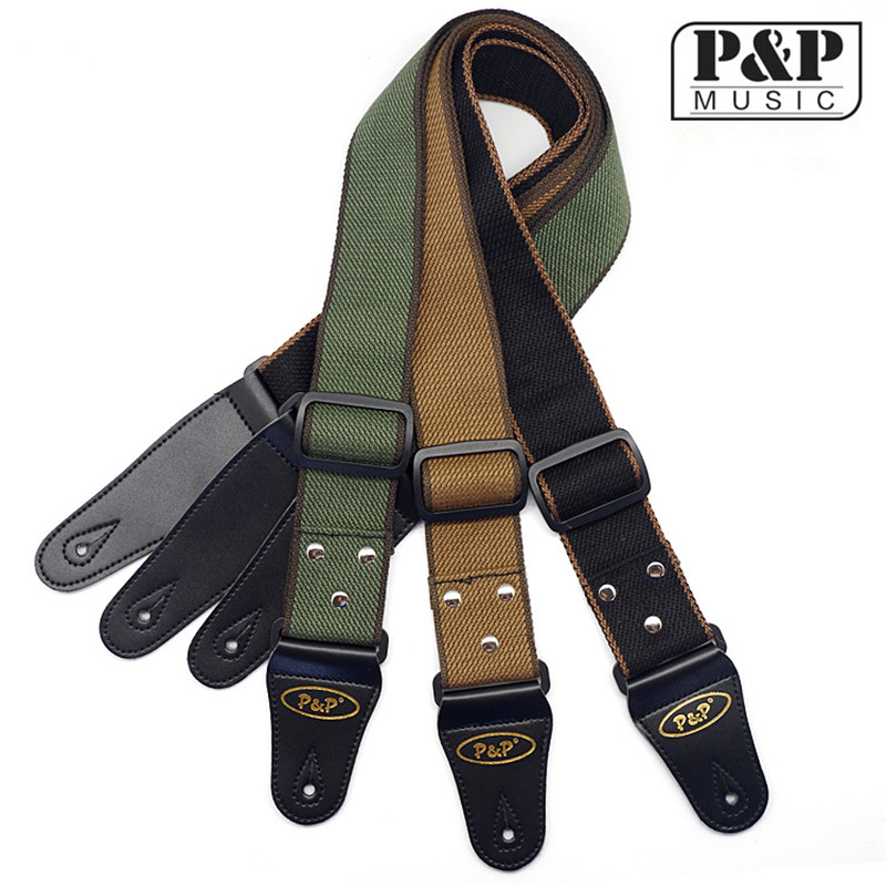 Guitar Strap P&P Soft Thick Pattern Cotton 2 Adjustable Bass Acoustic Electric Folk S308 soft thick cool pattern cotton 2 adjustable bass acoustic electric folk guitar strap with leather ends