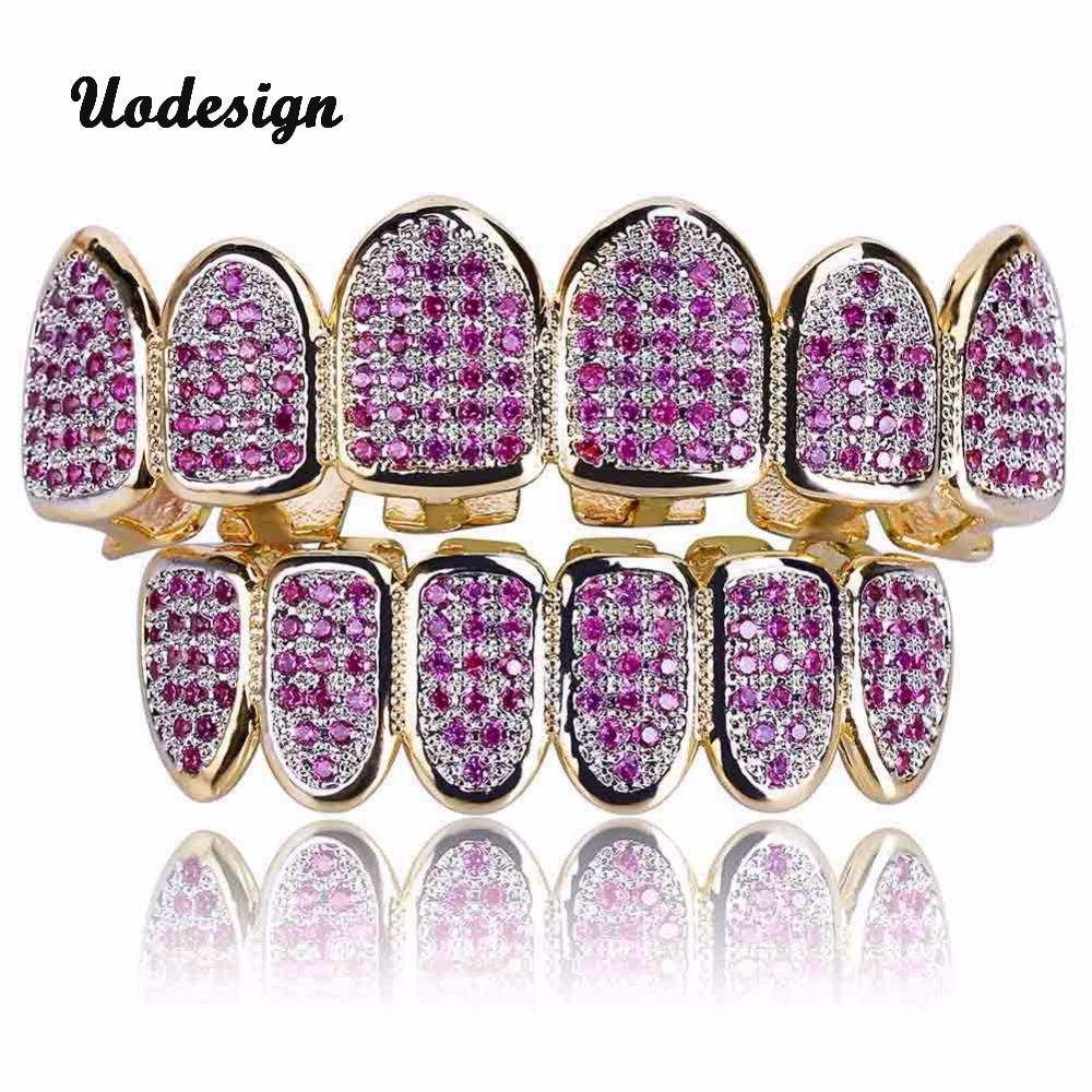 Gold Teeth Grills Rhinstone pink zircon paved aaa cz Top Bottom Bling Teeth Hiphop Grills Tooth Caps Cosplay Teeth Body Jewelry