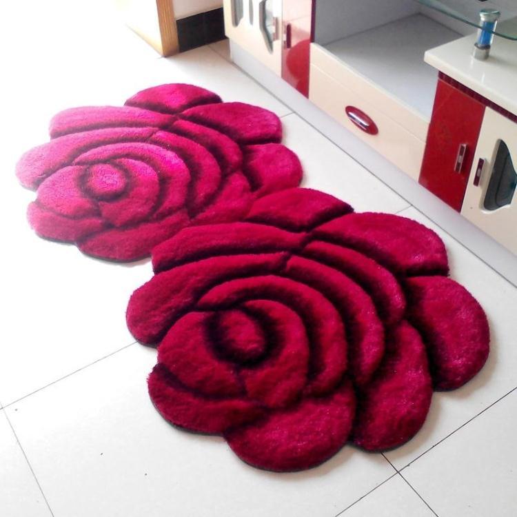 Объемный ворсистый круглый ковер с объемным цветком, коврики для дома, гостиной, свадьбы, тапеты, ворсистые ковры, толстые круглые ковры с цветочным рисунком - Цвет: double rose