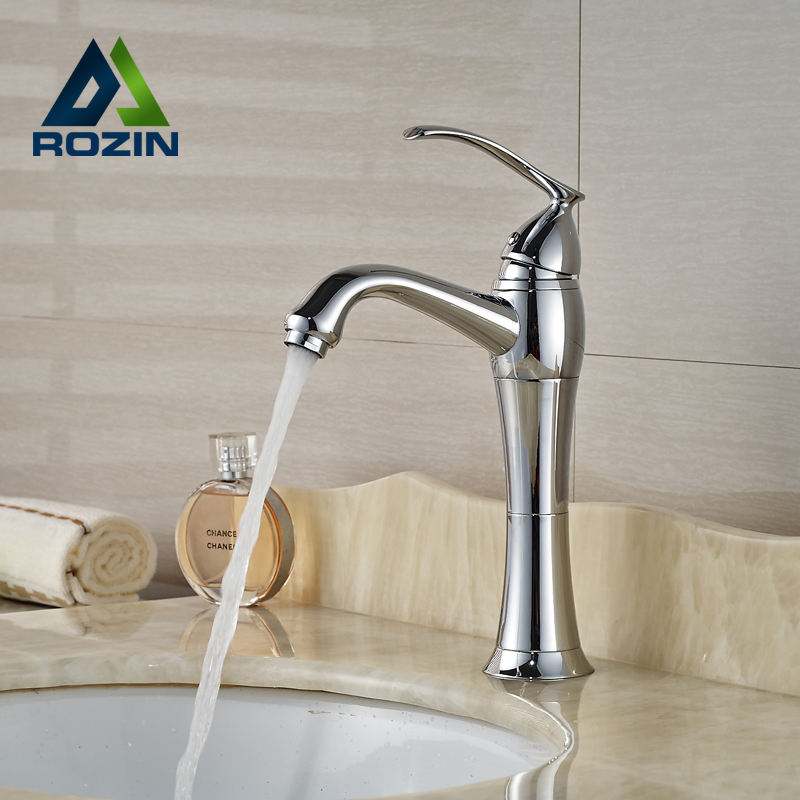 Polished Chrome Deck Mount Brass Basin Sink Mixers Bathroom Hot Cold Water Faucet Single Handle