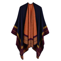 Plaid Striped Winter Scarf Women Wrap Scarves Cape Blanket Tassels Thick Warm Soft Double Layer Large Shawl 130*150cm
