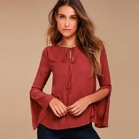 Women Causal T Shirt Long Sleeve Tee Shirts Tee Tops Flare Sleeves Office Elegant Lady Shirt