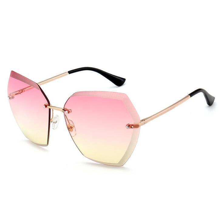 ef55752b467d women oversized sunglasses vintage rimless sunglasses women gradient pink  blue yellow designer fashion ladies sun glasses female