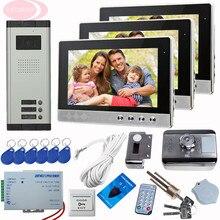 SUNFLOWERVDP 10-inch Video Intercom Interphone 3 Units Whit Rfid Unlock Electronic Lock Video Intercom System For Apartments Kit