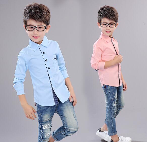 7e4f65a21 2019 otoño ropa para niños camisas de algodón de manga larga de algodón para  niños grandes camisas Casuales tops en Camisas de Mamá y bebé en AliExpress. com ...