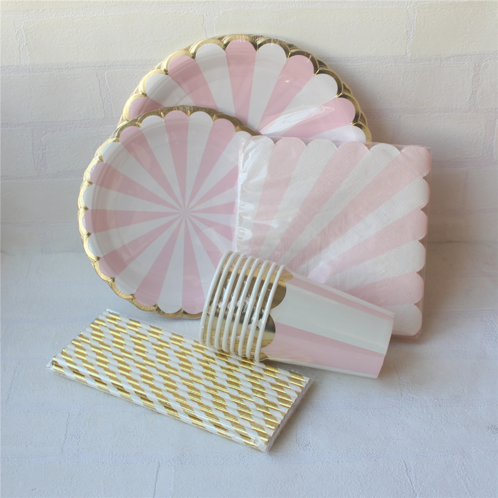 Pink Striped Dinner Paper Tableware Set Foil Gold Paper Plates Cups Napkins Straws Wedding Decoration-in Disposable Party Tableware from Home \u0026 Garden on ... & Pink Striped Dinner Paper Tableware Set Foil Gold Paper Plates Cups ...