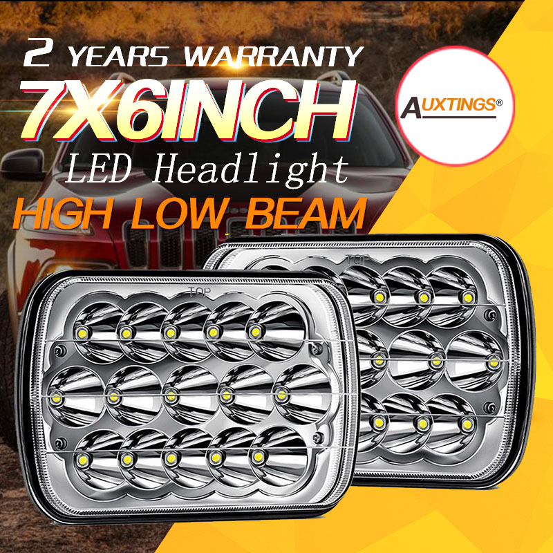 Auxtings 2x 5x7 7x6inch LED headlight 45W Spot Work Light Sealed High Low Beam H4 Driving Headlight Truck 12V 24V For Jeep