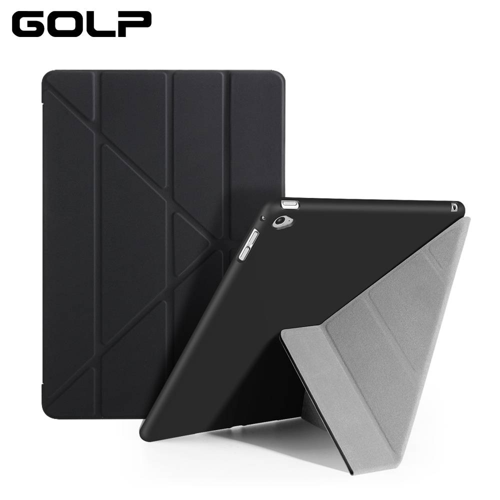 Skal till iPad Mini 4-fodral, PU Läder Multi-vikande Smart Cover Stand Translucent Soft TPU Back Flip Väska till ipad mini 4 case