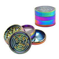 HORNET Rainbow Zinc Alloy Smoking Herb Grinder With Maze Game 63MM 4 Piece Sharp Teeth Metal Tobacco Weed Grinder Weed Crusher
