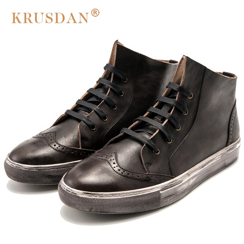 KRUSDAN Vintage Man Brogue Outdoor High-Top Shoes Genuine Leather Flat Platform Round Toe Men's Cowboy Casual Ankle Boots krusdan luxury brand platform man handmad outdoor ankle boots genuine leather round toe classic men s cowboy martin shoes