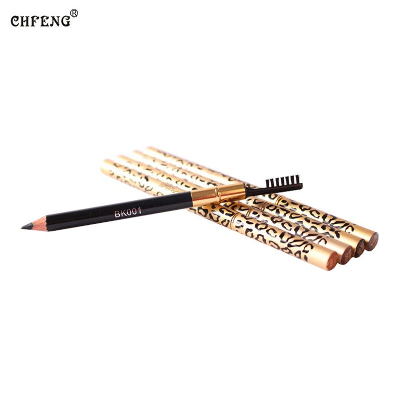 Professional  Women Waterproof Eyebrow Pencil With Brush Make Up Leopard Maquiagem 5 Colors Shadow To Eyebrow Cheap