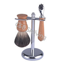CSB Wood Shaving Brush Set Salon Men Facial Black Badger Hair Beard Cleaning Appliance Tools with Trimple Blades Razor