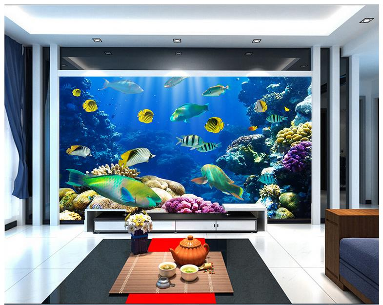 Custom 3d photo wallpaper 3d murals wallpaper wall the for Aquarium mural gifi