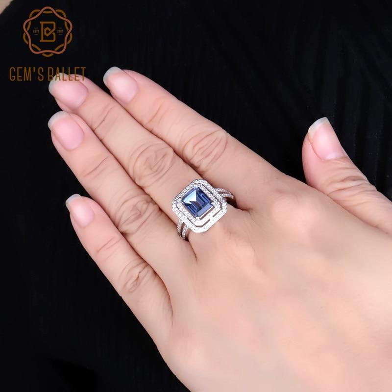 Gem's Ballet 925 Sterling Silver Rectangle Cut 2.05Ct Natural Iolite Blue Mystic Quartz Gemstone Rings For Women Fine Jewelry