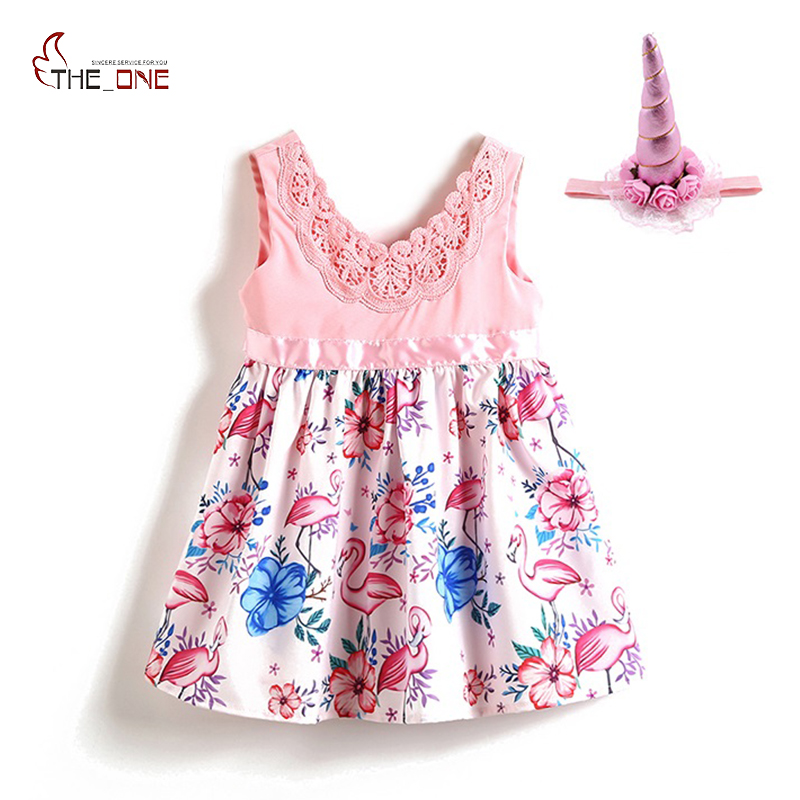 MUABABY Summer Baby Girls Sleeveless Cartoon Animal Pattern Flamingos Dress Plus Halloween Party Flexible Lace Flower Headband