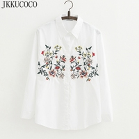 JKKUCOCO Women full cotton floral embroidery white long blouse oversized long sleeve loose shirt office wear casual tops blouse