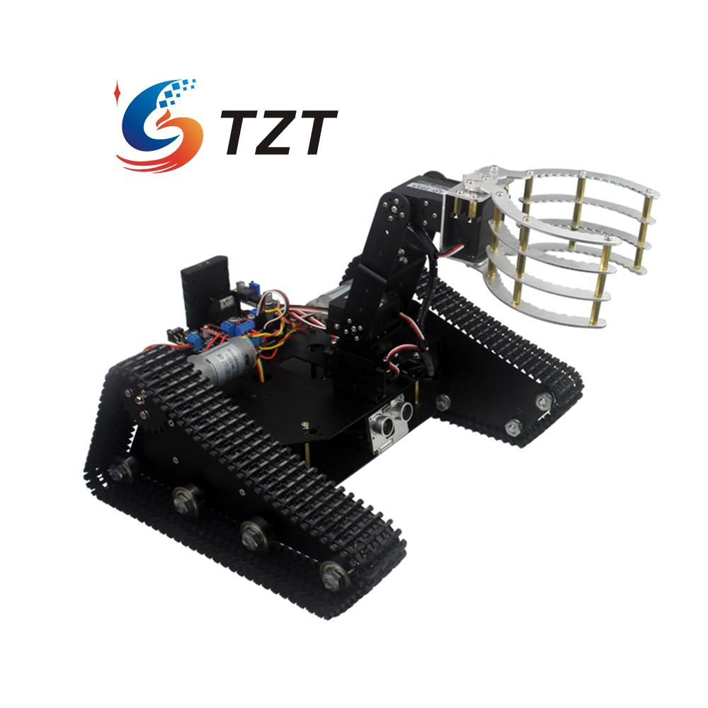 Smart Tracked Robot Car Chassis Caterpillar 4DOF Mechanical Arm Digital Servo for DIY