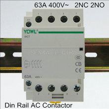 Din Rail Modular Ac Contactor Household 35mm Home 63A 4P 2 400v--50/60hz 2NO 2NC 220V/230V
