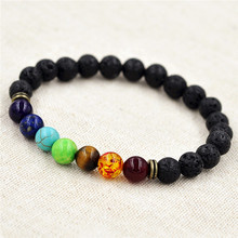 8mm Muti-color Beads Bracelets Lava 7 Chakra Healing Balance Bracelet for Men Rhinestone Reiki Prayer Stones
