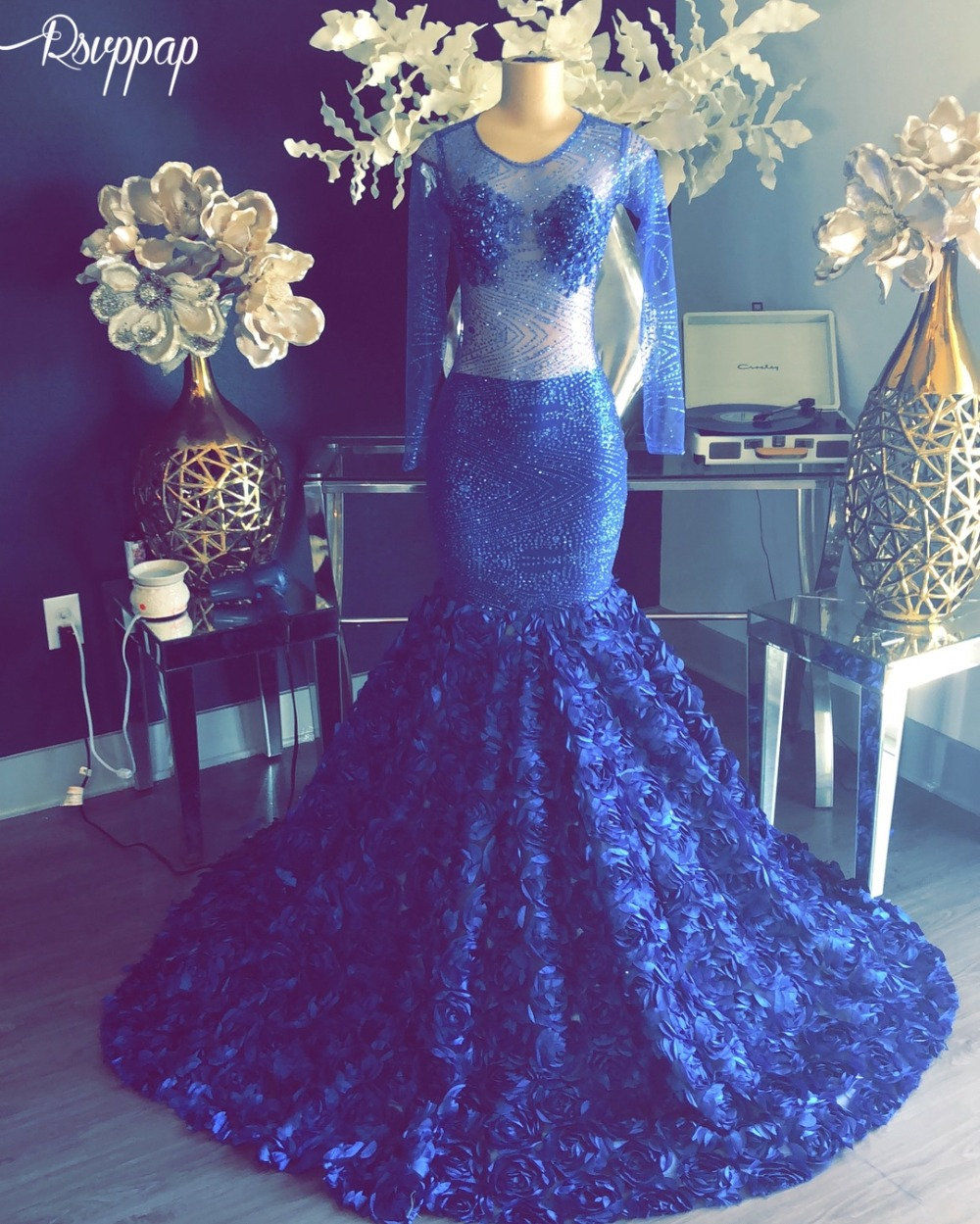 Long Sparkly   Prom     Dresses   2019 Sheer Glitter Long Sleeve Royal Blue African Black Girl Royal Blue Flowers Mermaid   Prom     Dress