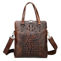 Men Luxury Messager Bag, Genuine Leather, Cow leather with Alligator Crocodile Pattern Clutch Bag Cross Vertical for Business