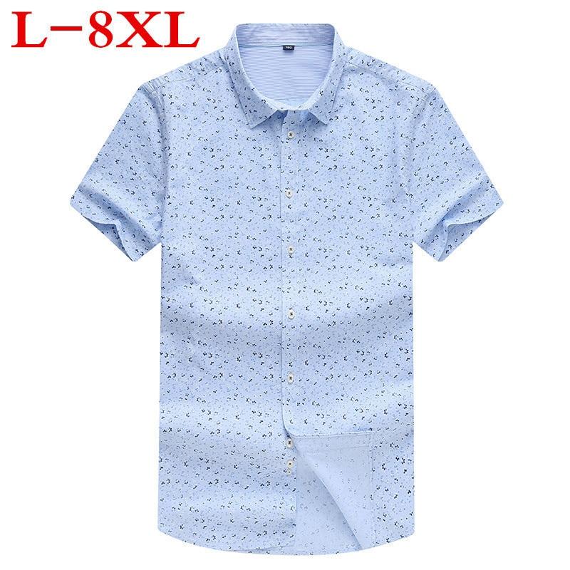 2018 new 100% cotton Big And Tall Summer big print casual short sleeve shirt business shirt plus size 8XL fertilizer code Lapel
