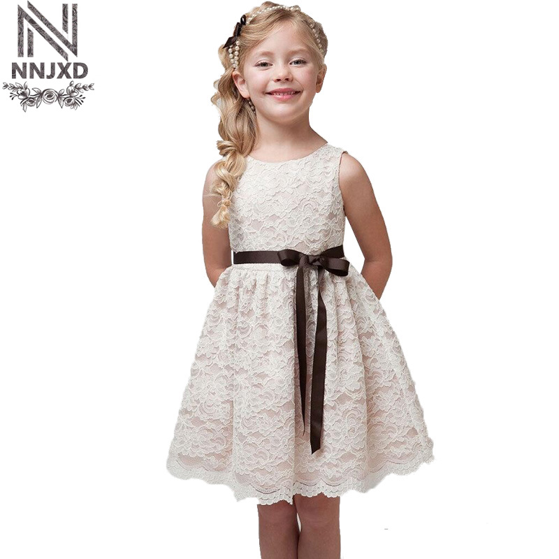 2018 New Fashion Dress Baby Girls Flower Lace Dresses Girl Clothing Elegant Princess Clothes Costume For Kids 3-8 Years Old