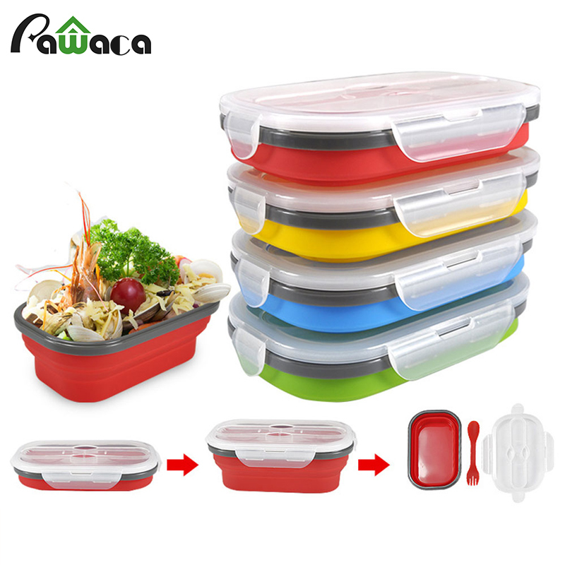 Collapsible Silicone Food Storage Containers Bento Boxes Fruit Crisper Meal Prep Containers Portable Folding Lunch Box with Fork|Lunch Boxes| |  - title=