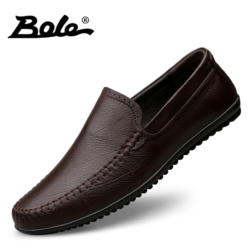 цены на BOLE Large Size 36-47 Men Genuine Leather Casual Shoes Men Slip on Soft Leather Shoes Light Weight Sneakers for Men Flat Shoes в интернет-магазинах