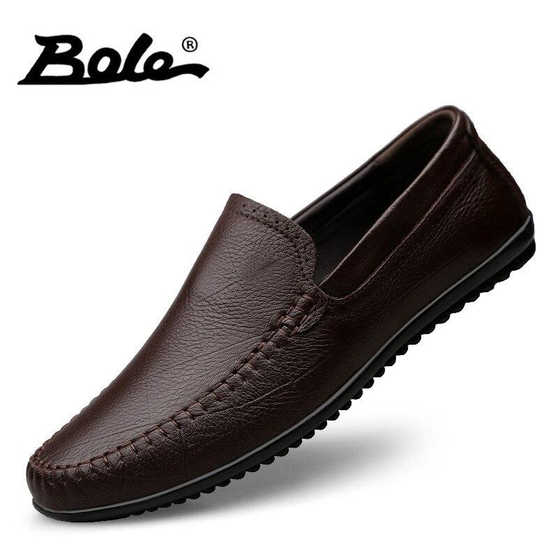 BOLE gran tamaño 36-47 hombres del cuero genuino Casual zapatos hombres deslizamiento en zapatos de cuero suave zapatillas de deporte ligeras para los hombres zapatos planos