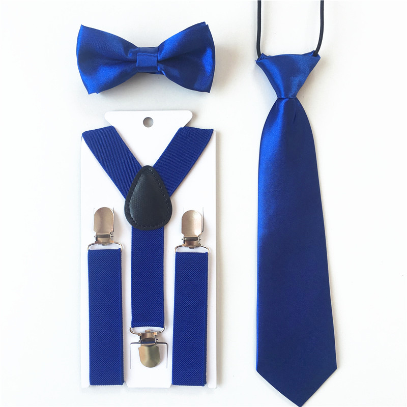 3PCS Children Baby Boys Kids Suspenders Tie Bowtie Set 3 Clip-on Elastic Adjustable Braces Straps Clothing Accessories BDTZ008