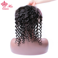 Queen Hair 360 Lace Frontal Brazilian Deep Wave Human Hair Free Part Pre plucked Closure Swiss Lace Remy Hair 1Piece 12 18inch