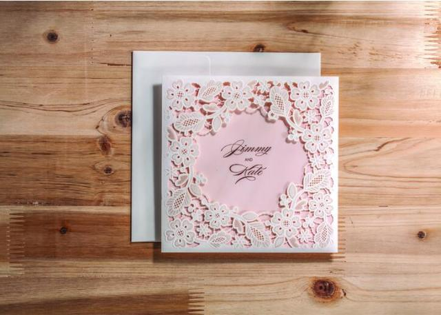 50pcs FREE SHIPPING Elegant Pink Lace Damask Flower Vintage Wedding Invitation Card Greeting Blank