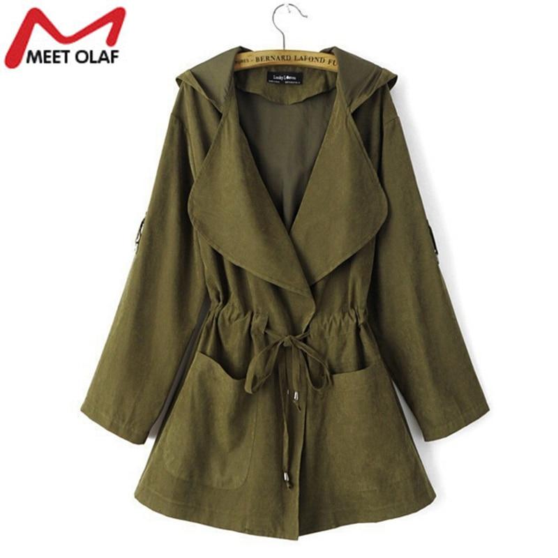 New Women   Trench   Coat Spring Elegant Khaki Drawstring Waist Long Coats Female Casual Windbreakers Ladies Raincoat Casacos YL324