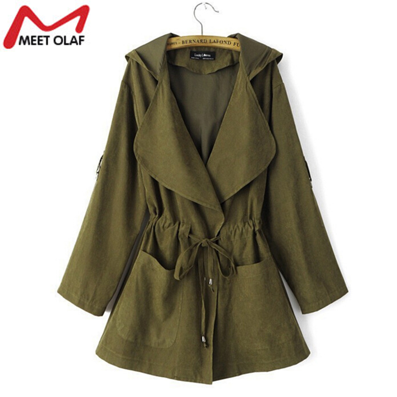 Women   Trench   Coat Spring Elegant Khaki Drawstring Waist Long Coats For Female Casual Windbreakers Ladies Raincoat Casacos YL324