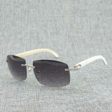 Retro Oversize Natural Wood Sunglasses Men Black White Buffalo Horn Shades Rimless Wooden Eyewear for Driving Club Oculos 705