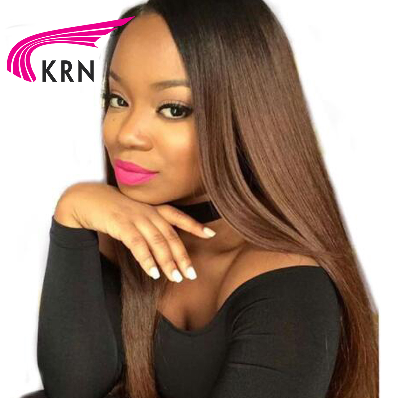 KRN Ombre Color Lace Front Human Hair Wigs With Baby Hair 130 Density Straight Brazilian Remy