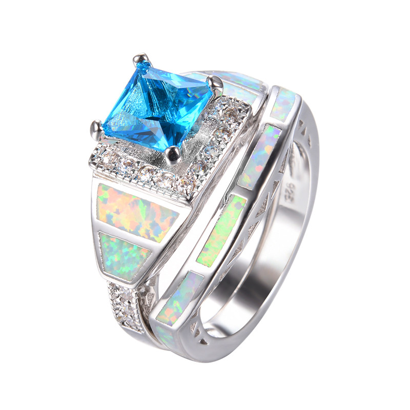 925 sterling silver white fire opal wedding ring set for women fashion jewelry square light blue
