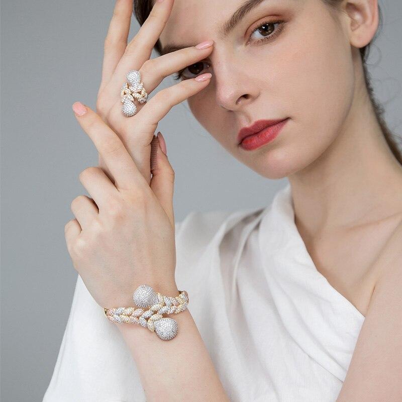 Dazz De Luxe Strass Mariage Zircons Bijoux Ensembles Trois Tons Couleur Cuivre Tresse Forme Bague Bracelet Ensemble Pour Femmes Parti Bijoux