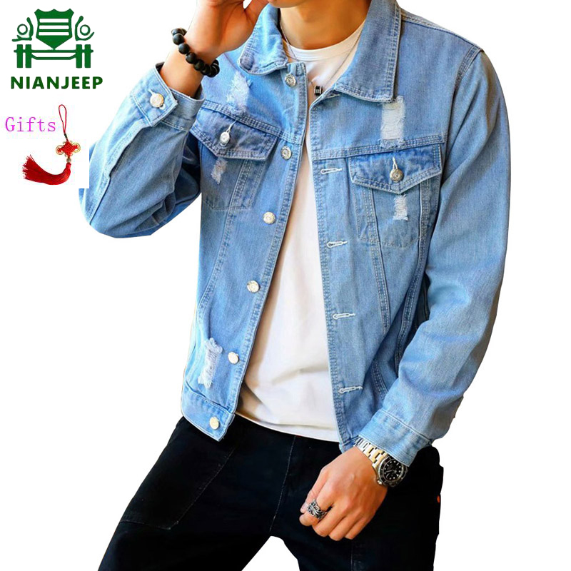Denim Jacket NIANJEEP Coats Jeans Spring Street Male Cowboy Autumn Casual Fashion Mens