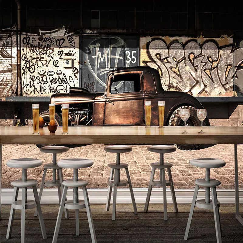 Пользовательские фото обои 3D ретро граффити ностальгия автомобиль Фреска ресторан кафе гостиная фон настенный Декор 3D обои