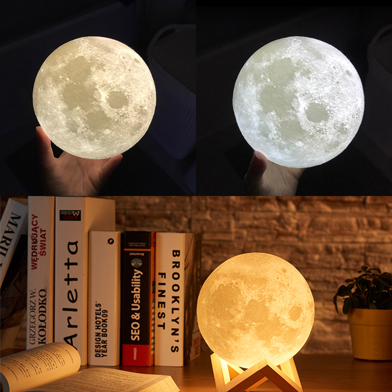 Dropship 3D Print Moon Lamp 20cm 18cm 15cm Colorful Change Touch USB Led Night Light Home Decor Creative Gift 1
