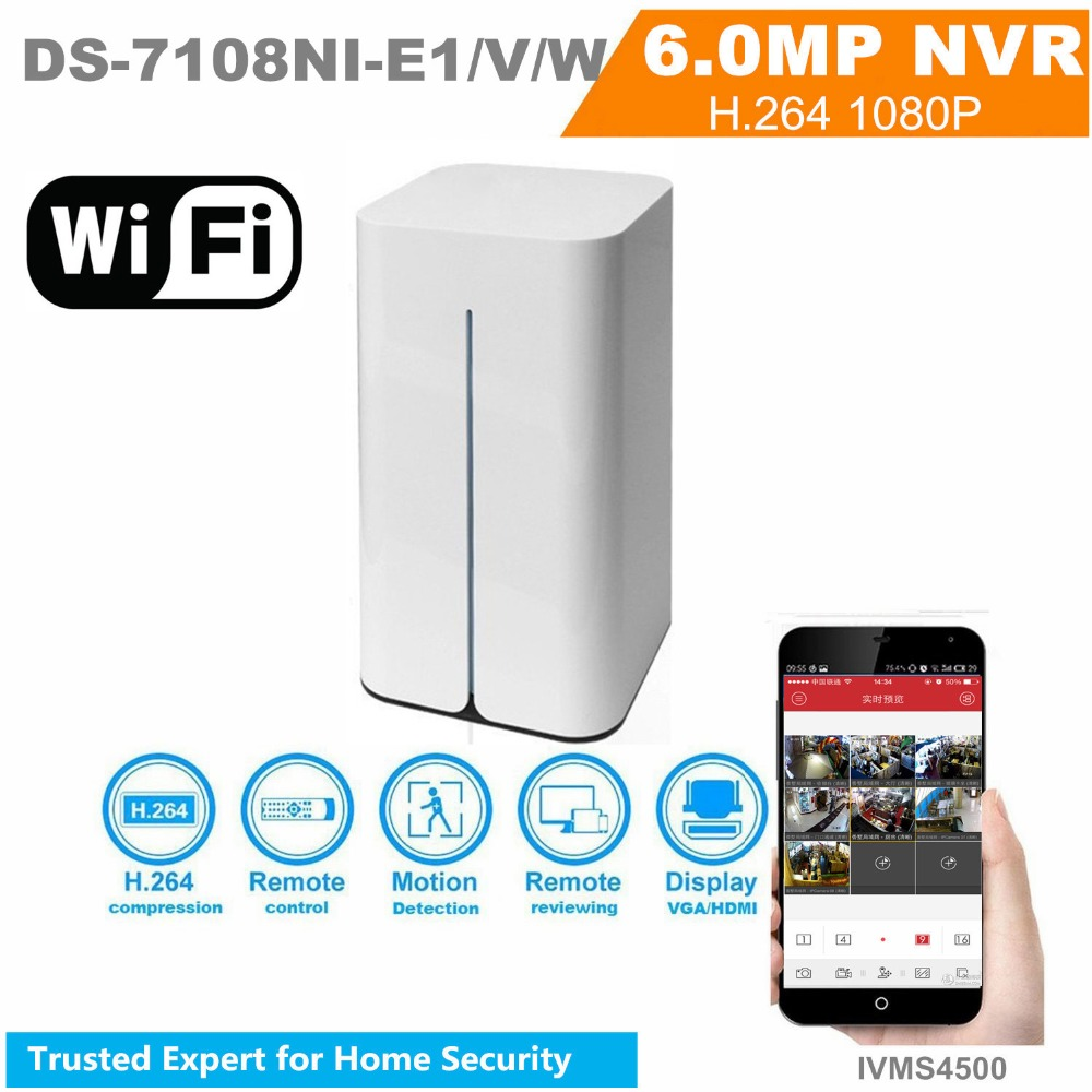 Hikvision WIFI NVR DS-7108NI-E1/V/W OEM 8 Channel Wireless NVR With built in Router Support Third-Part Network CCTV Camera hikvision embedded 8ch wireless nvr ds 7108ni e1 v w 8ch 1080p mini wifi network video recorder onvif support original english
