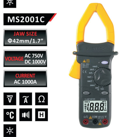 FREE SHIPPING MASTECH AC/DC DIGITAL CLAMP Multimeter measure Current Voltage Resistance Electronic Tester Meter MS2001C brand new professional digital lux meter digital light meter lx1010b 100000 lux original retail package free shipping