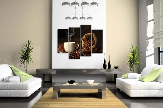 Coffee Beans Patterned Framed Wall Art Picture